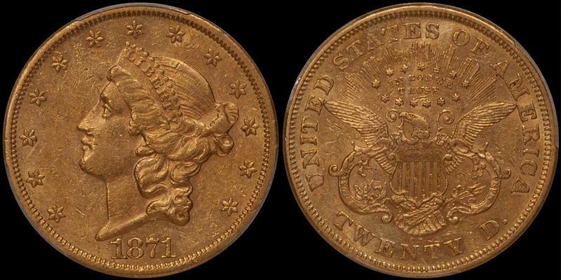 1871-CC $20.00 PCGS AU55
