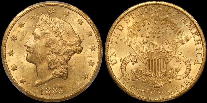 1885-CC $20.00 PCGS MS60