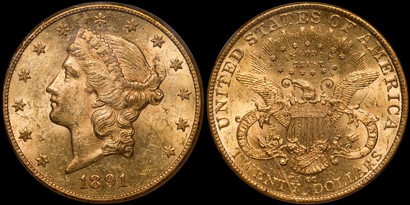 1891-CC $20.00 PCGS MS61