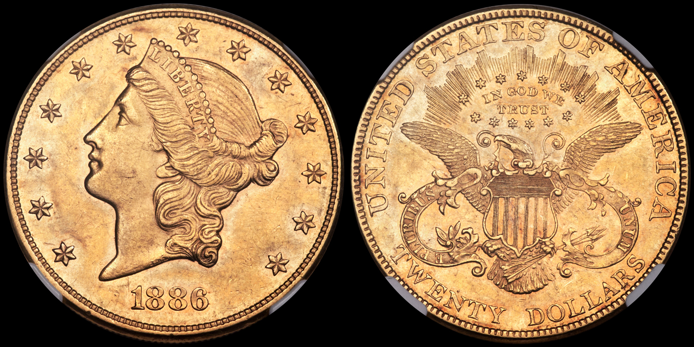 1886 $20.00 NGC AU58  -  image courtesy of Heritage