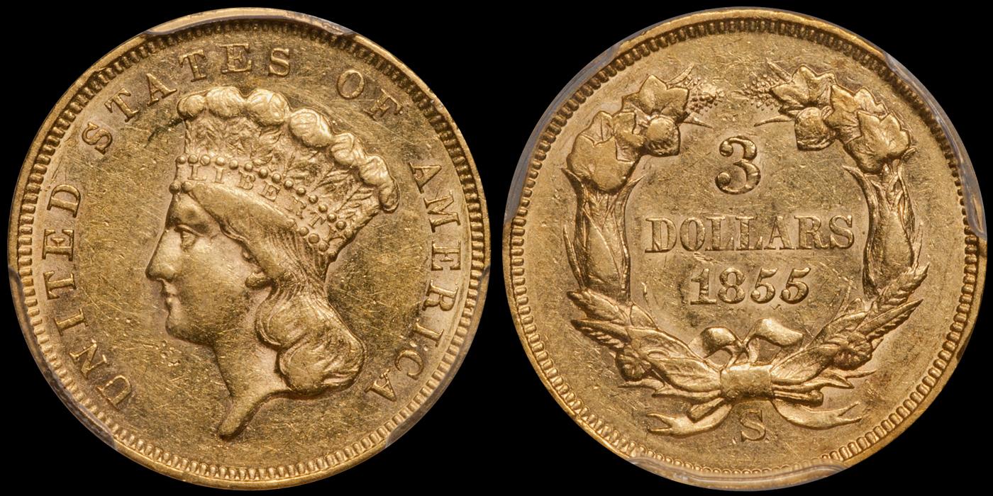 1855-S $3.00 PCGS AU58 CAC