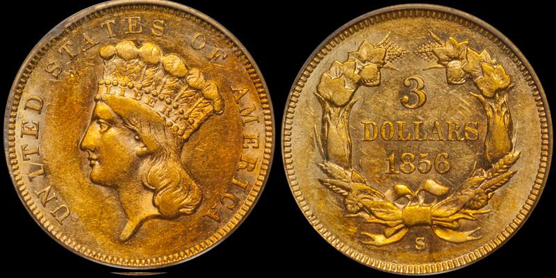 1856-S $3.00 PCGS AU55 CAC, ex SSCA