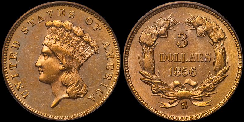 1856-S $3.00 PCGS MS62
