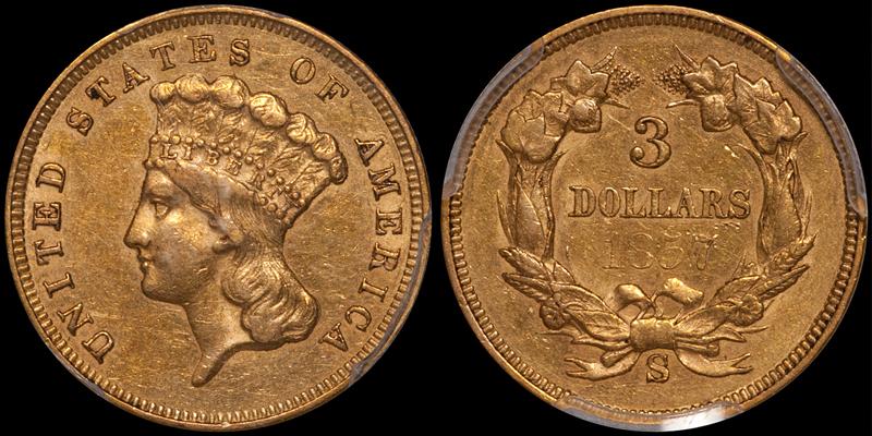 1857-S $3.00 PCGS AU50 CAC