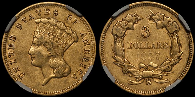 1857-S $3.00 NGC EF40 CAC