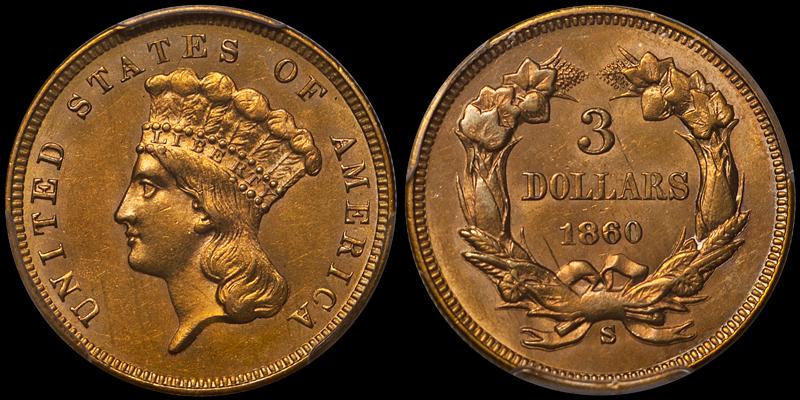 1860-S $3.00 PCGS MS62