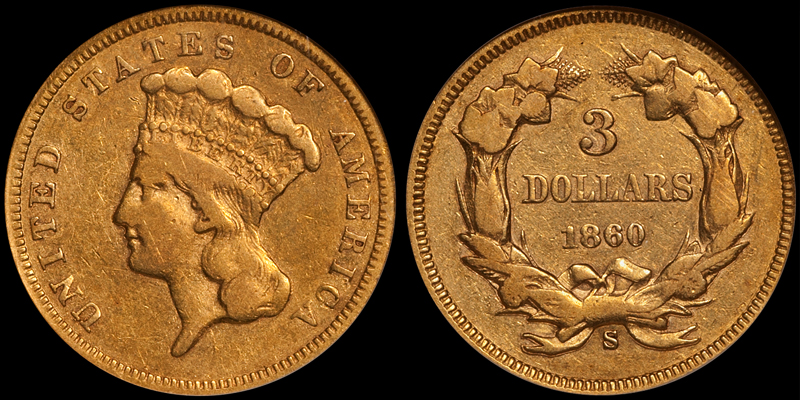 1860-S $3.00 NGC VF30 CAC