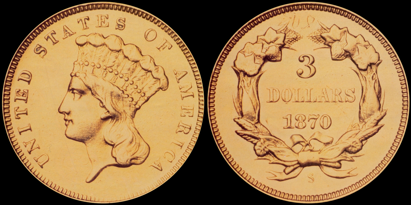 1870-S $3.00 courtesy of Coinfacts/Bowers & Merena