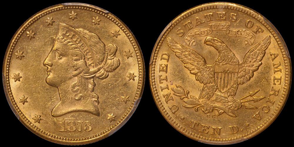 1873-CC $10.00 PCGS AU58 CAC