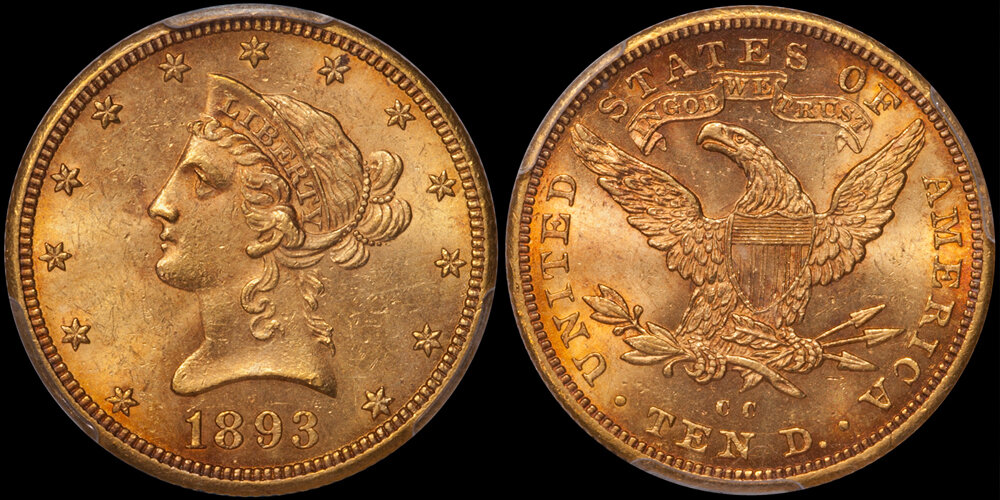 1893-CC $10.00 PCGS MS62 CAC