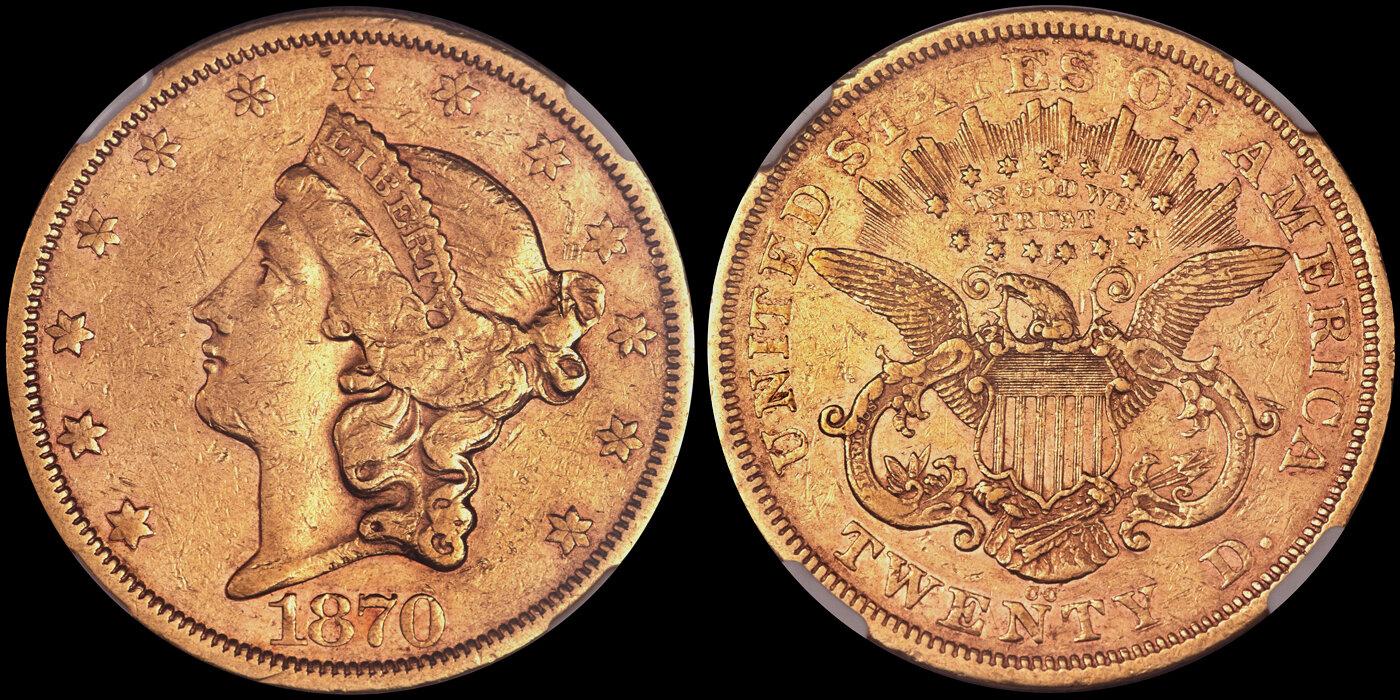1870-CC $20.00 NGC EF45, courtesy of Heritage