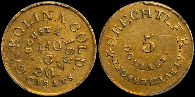 1834 C. Bechtler PCGS AU53 CAC