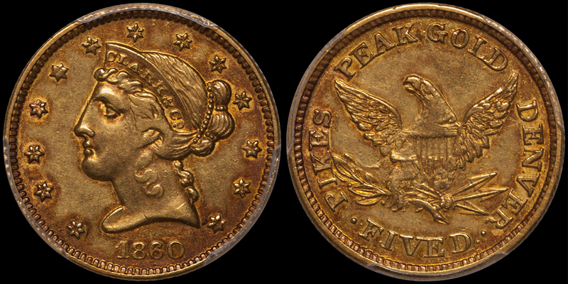 1860 Clark Gruber $5.00 PCGS AU55 CAC