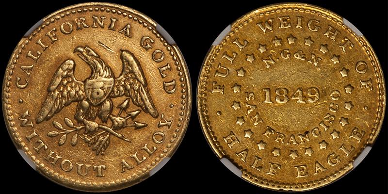 1849 Norris Gregg Norris $5.00, Reeded Edge, NGC AU55