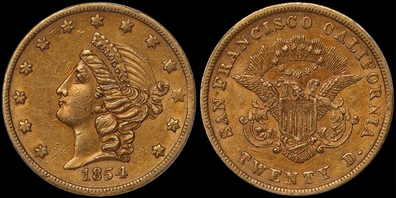 1854 Kellogg $20.00 PCGS AU58 CAC