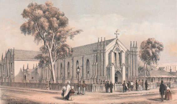 St Francis' Church, Melbourne, 1854.  Tinted lithograph drawn by artist Edmund Thomas (1827-1867). Lithographer D. James. State Library of Victoria Collection
