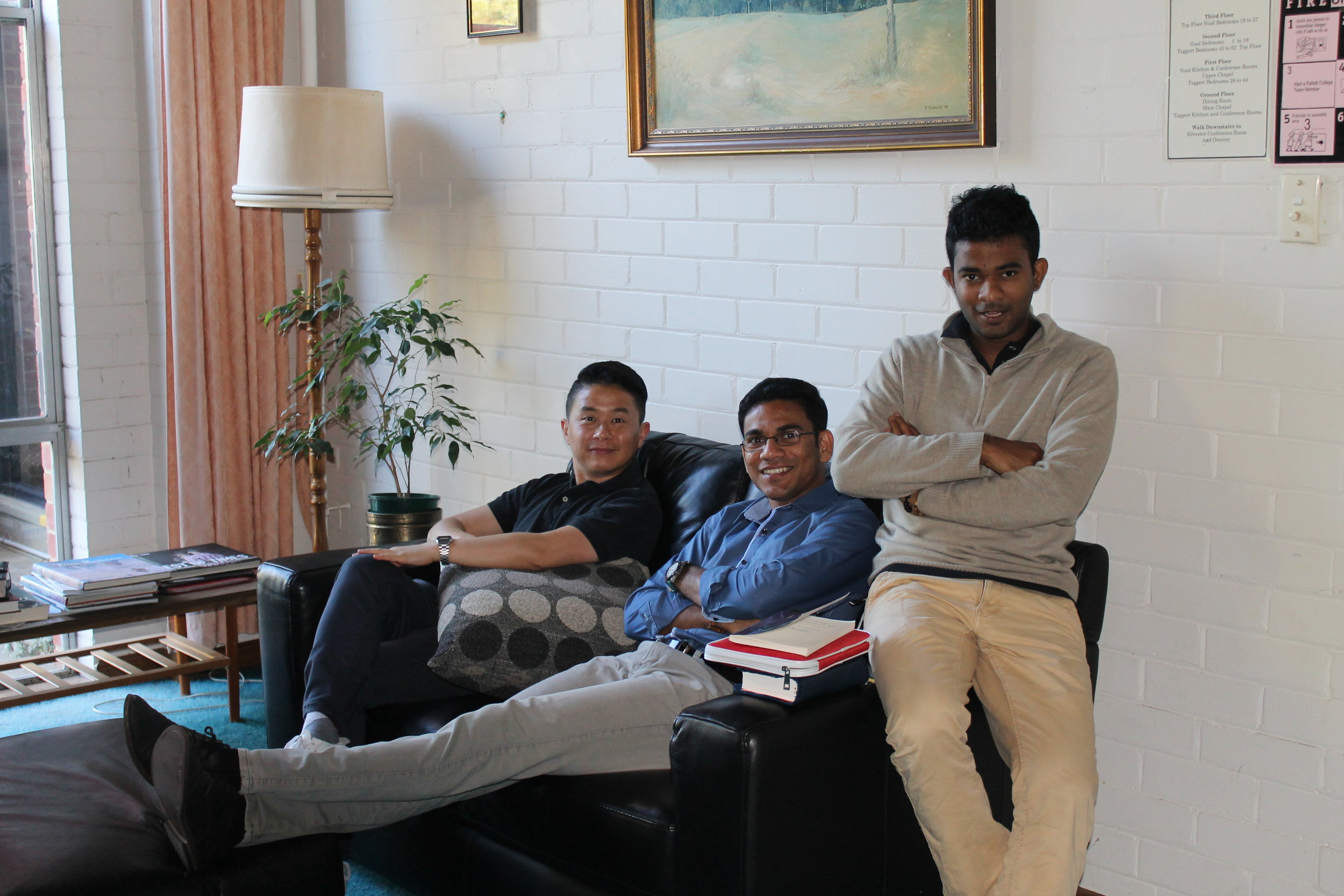 CAPTION: From left to right:Seminarians Andrew Choi, Simeon Anthony and Chathura Silva on the celibacy seminar.PICTURE: Jude Ezeme.