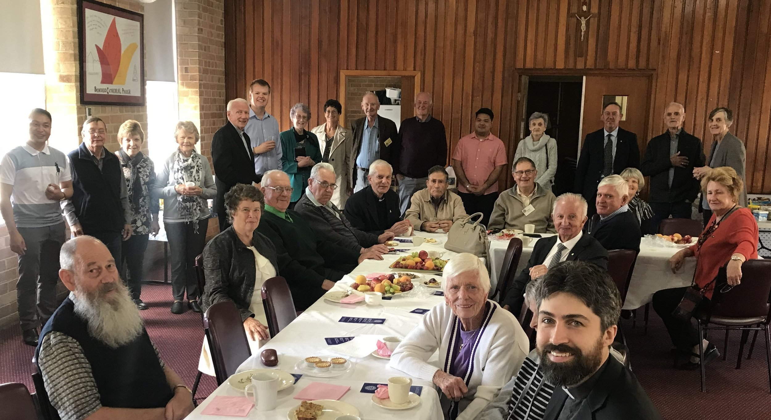The Bendigo Serra Club and friends of seminarians gather at Sacred Heart Cathedral Hall during Holy Week. Picture: DJ Suguitan.