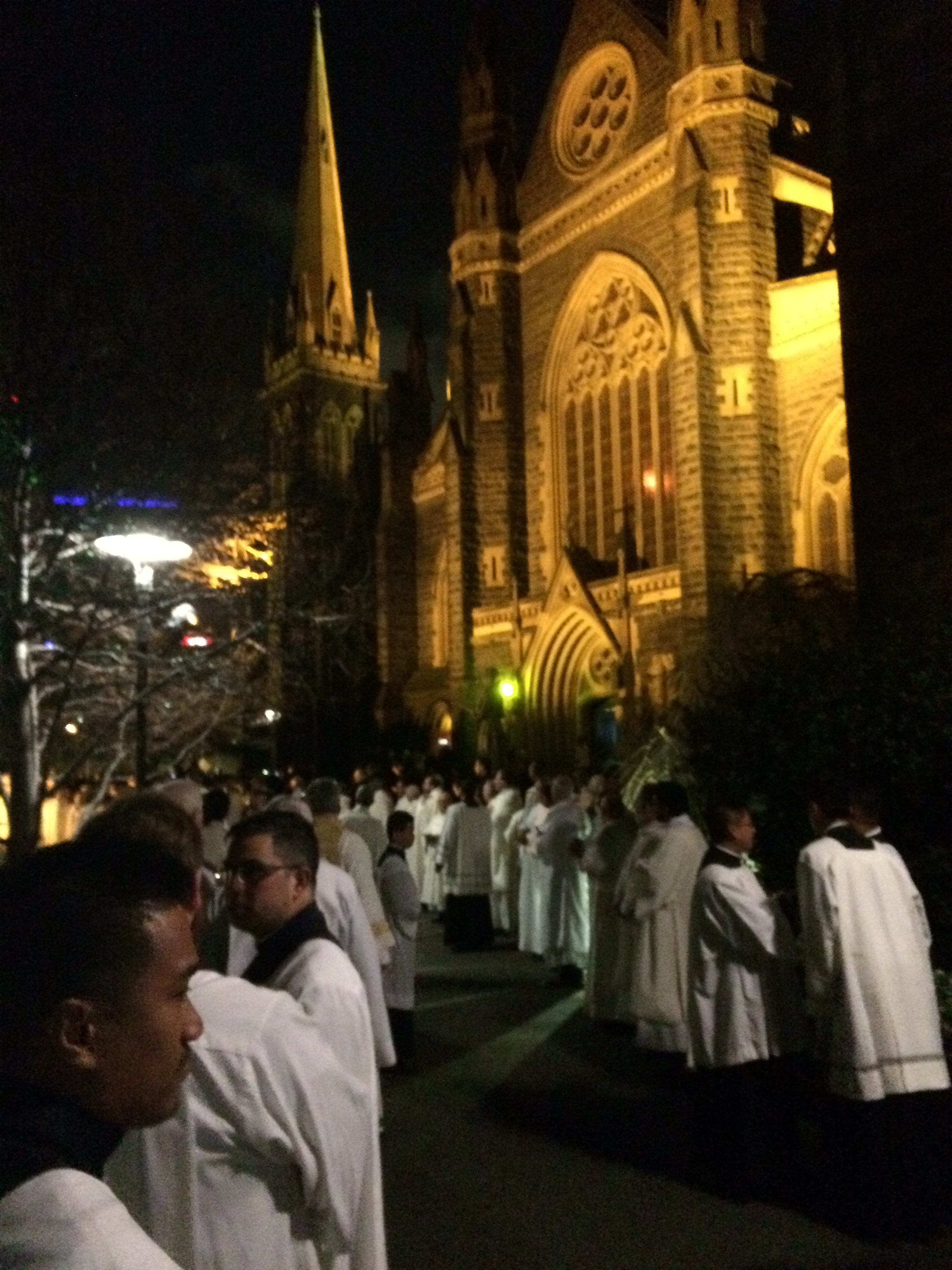 Corpus Christi seminarians outside St Patrick's Cathedral on the night of Archbishop Comensoli's installation as the ninth Archbishop of Melbourne. Picture: Jackson Saunders.