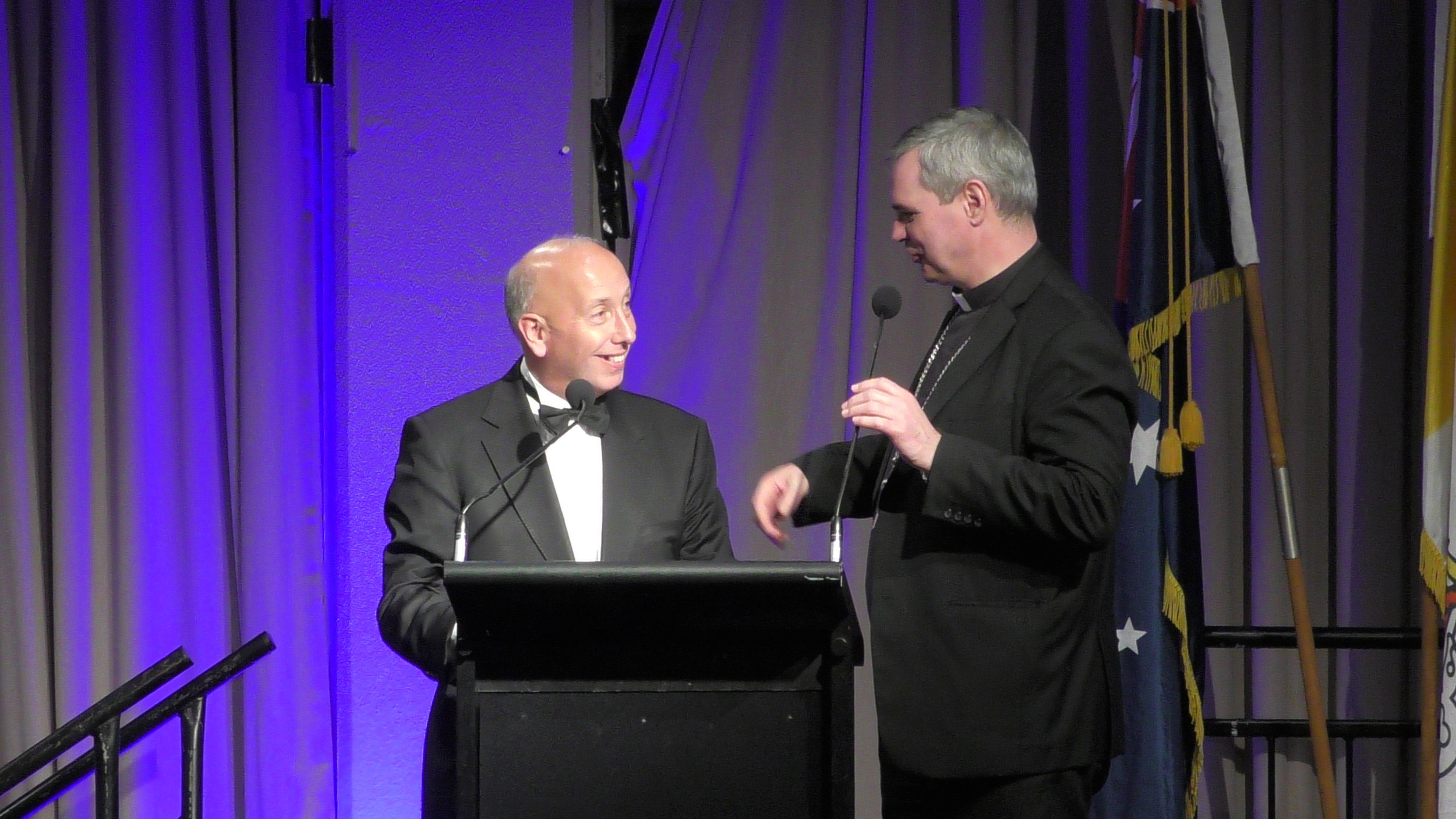 MC Shane Healy interviews Archbishop Peter. Picture: Andrew Vaccaro.