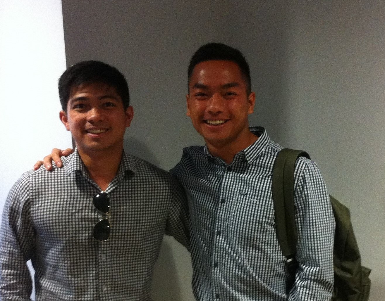 Tien Tran (right) pictured with fellow second-year Allan Aclan (left). Picture: Jackson Saunders.