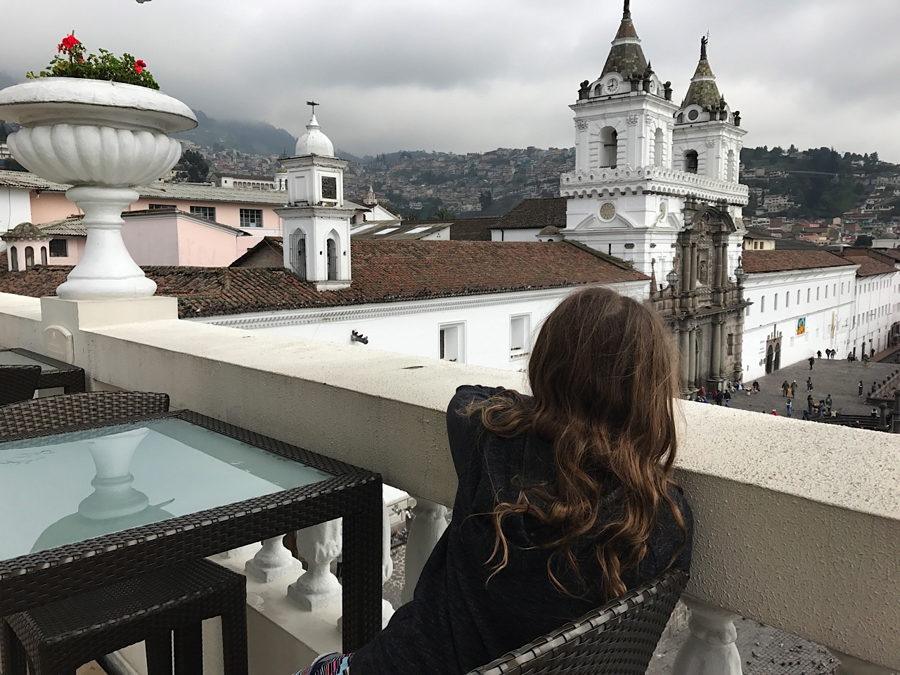 Views of the main square from the rooftop terrace at Casa Gangotena, Quito