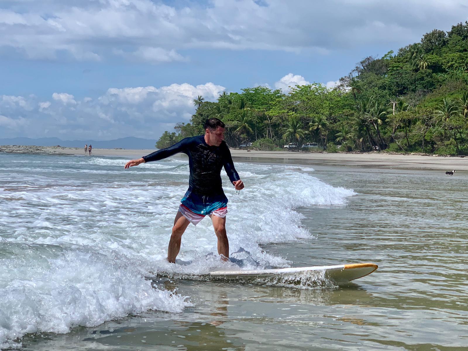 Peter Tibble of JetSet World Travel masters the waves in Santa Teresa.