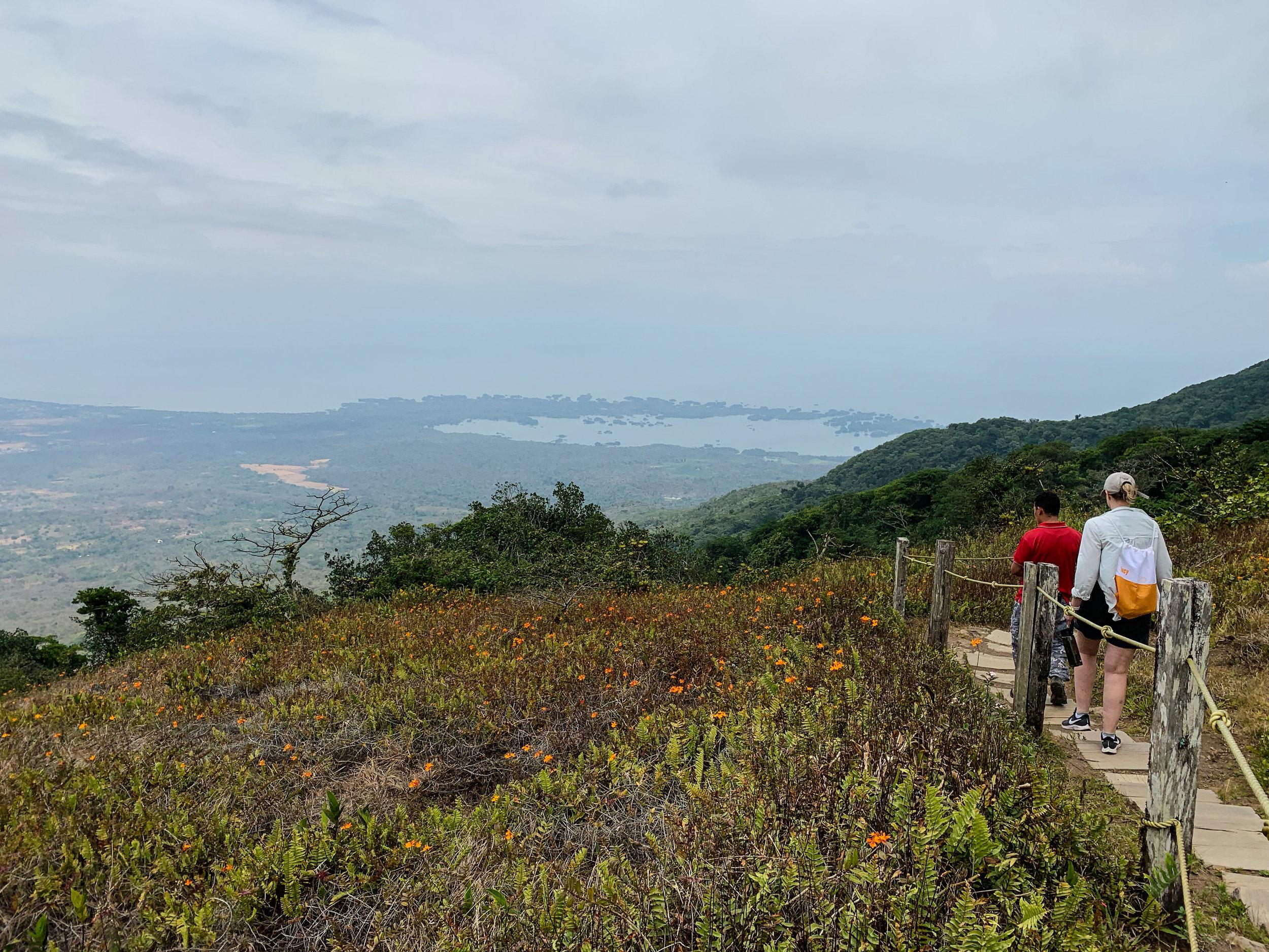 Hiking on Mombacho Volcano, overlooking the Isletas de Granada and Lake Nicaragua.