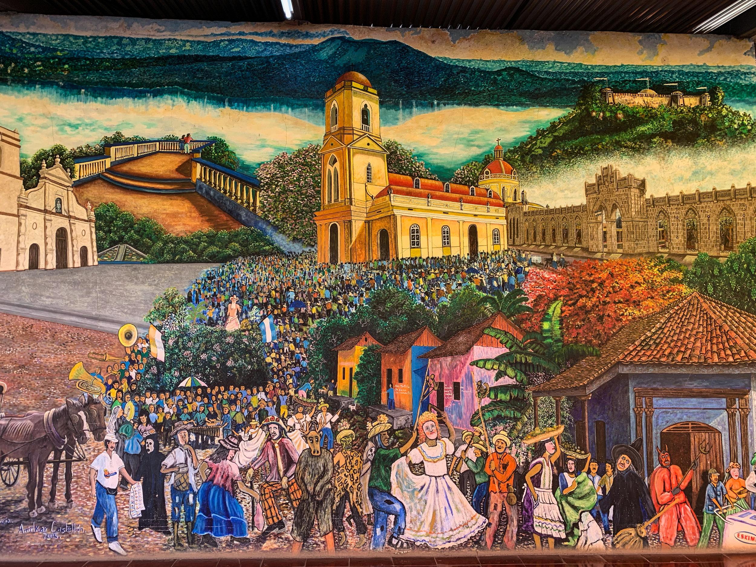 Murals in Masaya depict cultural dances and festivals
