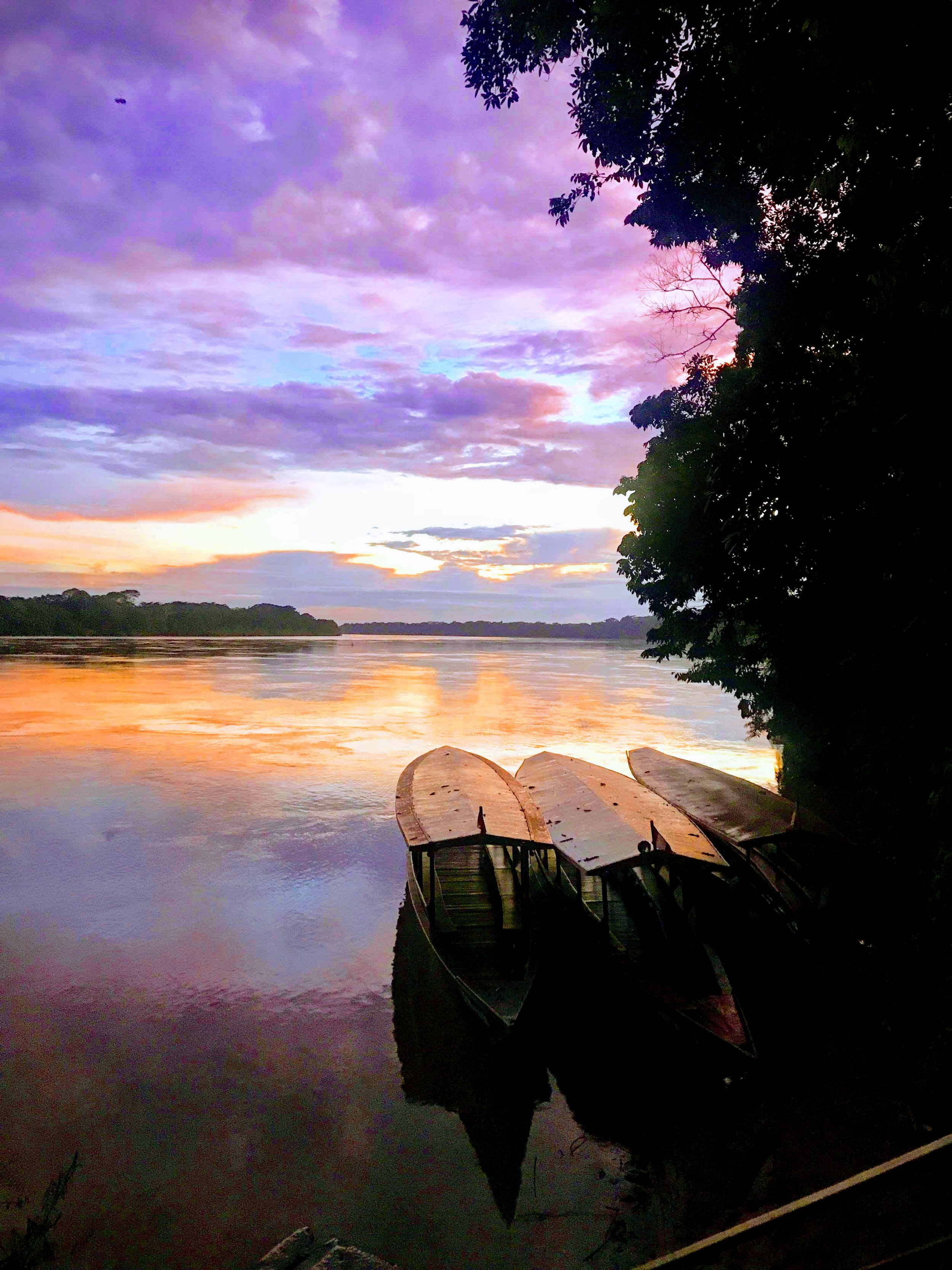 Canoes used for river transportation, here tied up at Hacienda Concepcion during sunrise