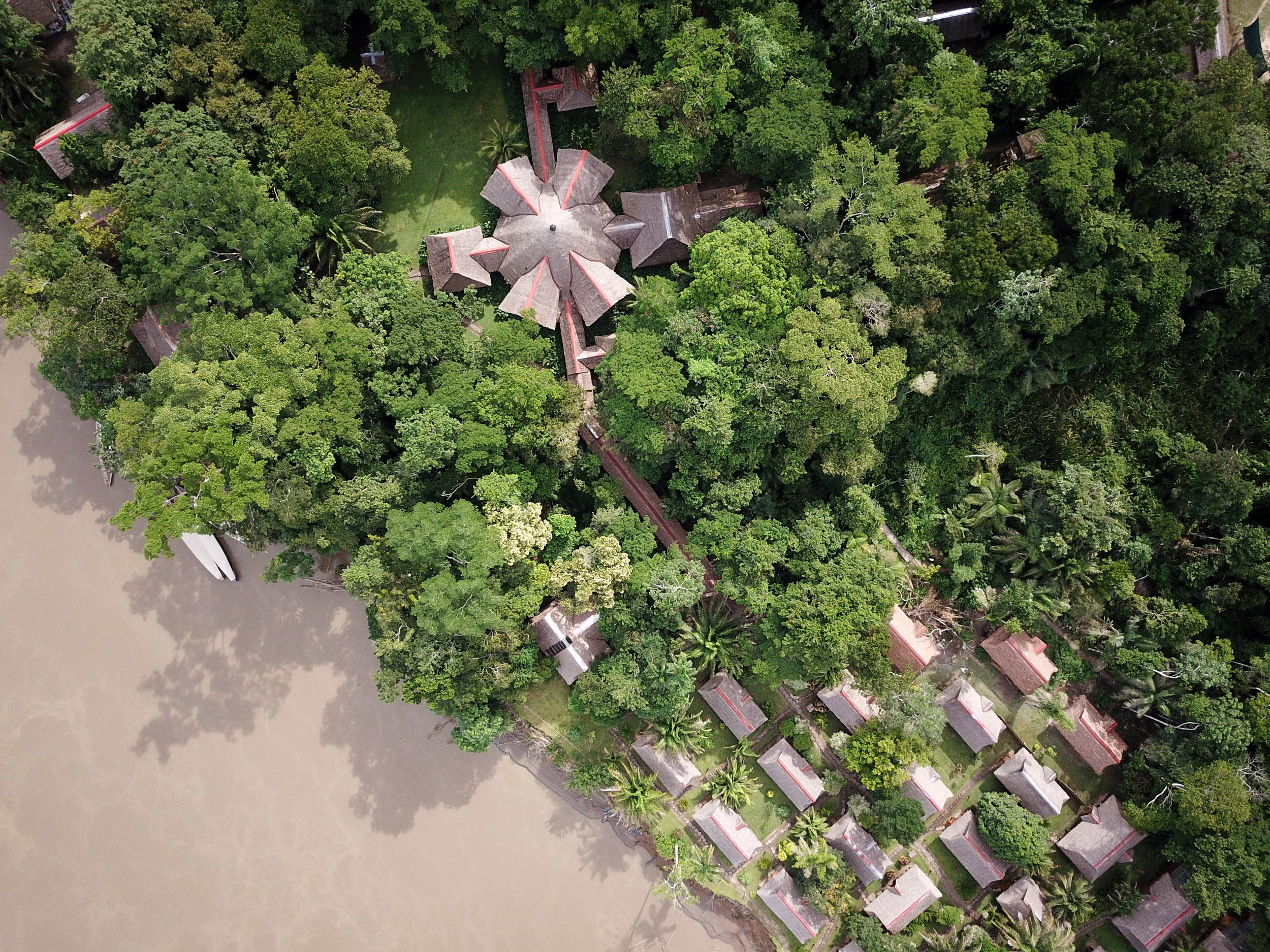 A drone's eye view of Inkaterra Reserva Amazonica along the banks of the Madre de Dios River