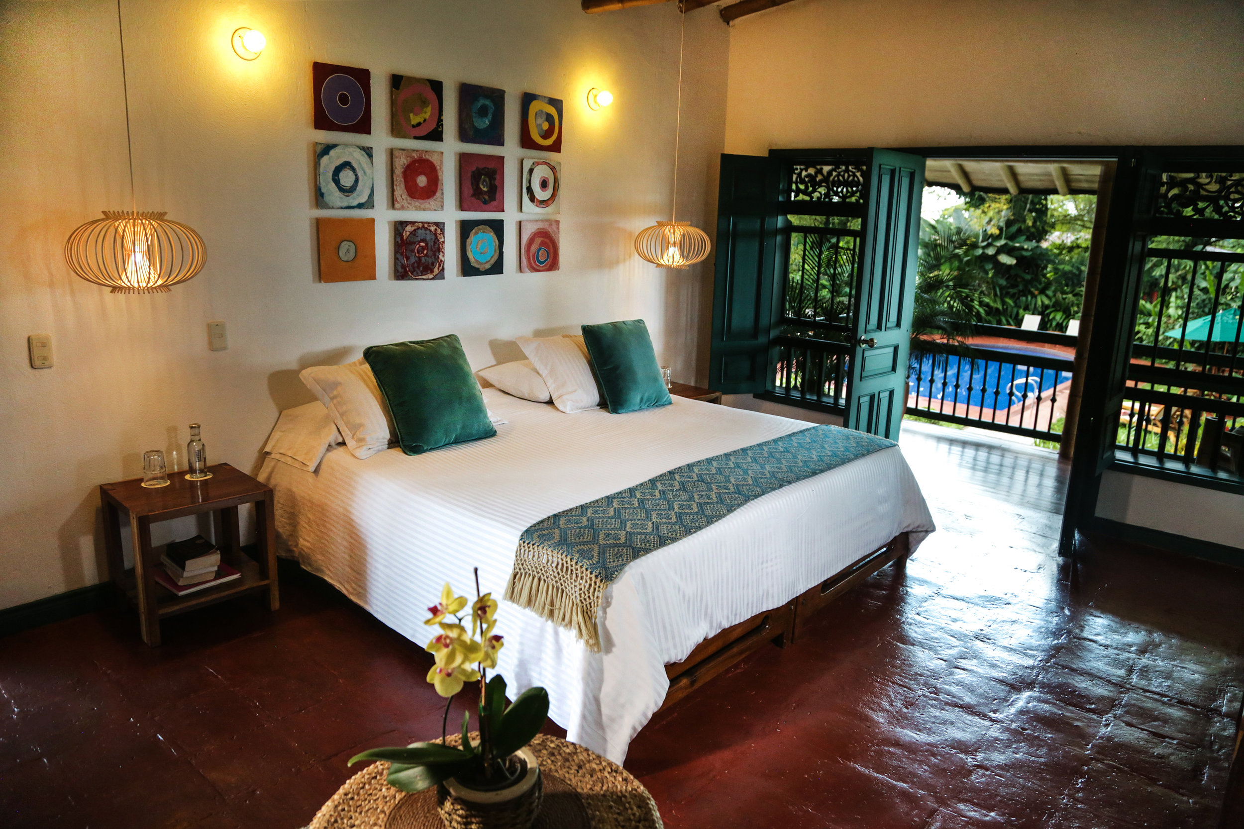 One of two Suites at Hacienda Bambusa, overlooking the gardens and pool