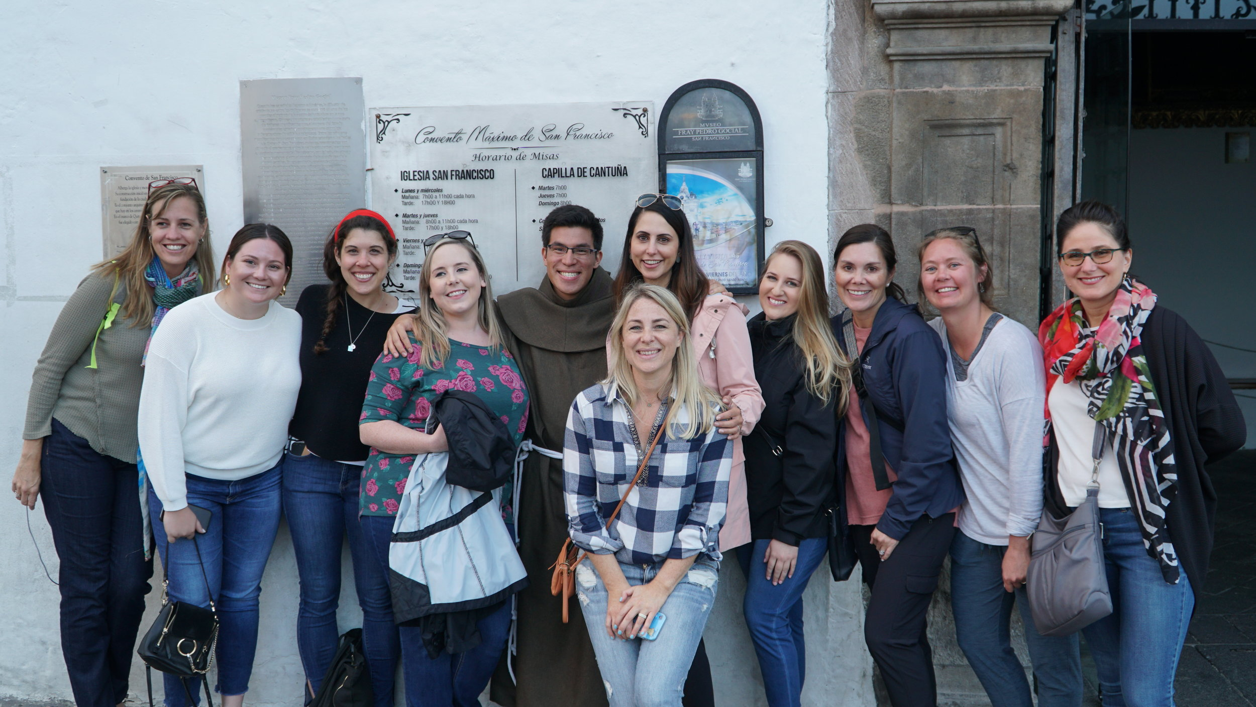 The 2019 Ecuador Crew (from L to R): Laurel Perry of Ciao Bambino, Danielle Diaz of Scott Dunn USA, Katy Lotz of MayaMaya Travel, Barbara Davidson of Kensington Tours, Monica Irauzqui of Yampu Tours, Sarah Groen of Bell & Bly (Brownell), Jessica Hart of Travel by Hart (Brownell), Shana Mandel of The Local Foreigner, Michele MacDonald of Core Traveler, Lindsay Schou of Landed Travel, Anna Sizer or Ciao Bambino.