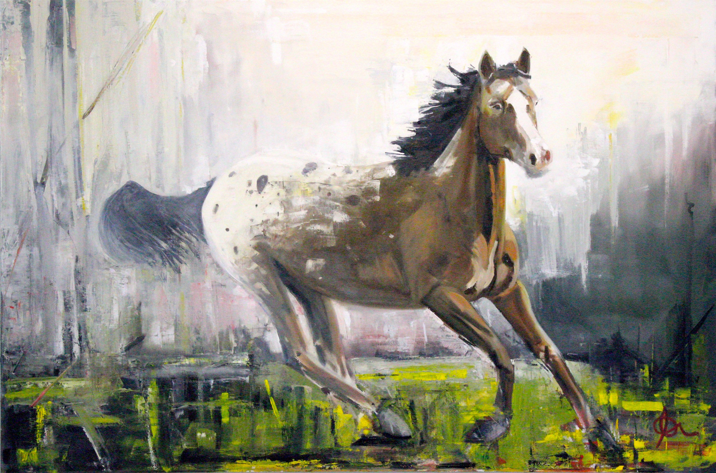 """""""First""""  72"""" x 48"""", Oil on Canvas, Adam Meikle  $3800"""