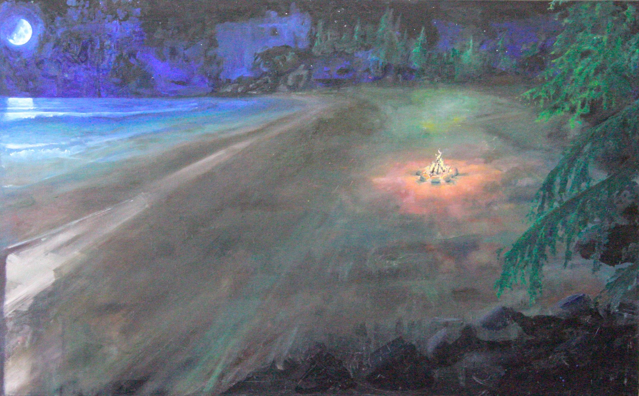 """Middle Beach: 30"""" x 48"""", Oil on Canvas, $900"""