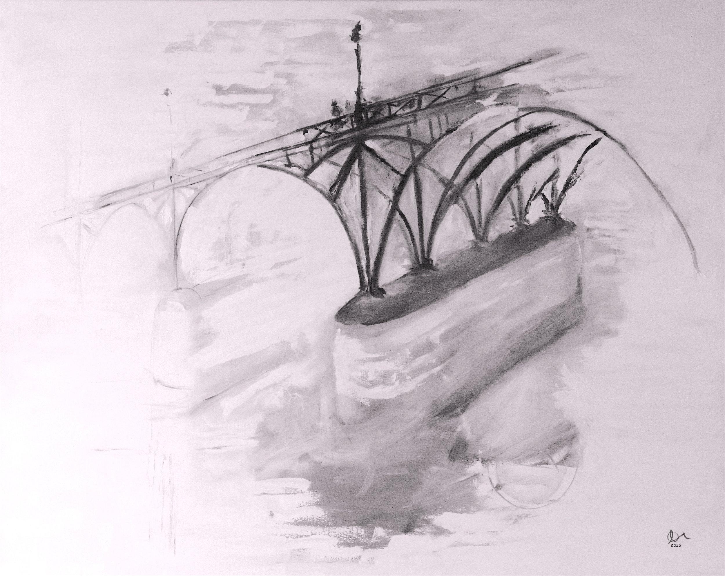 """Pont des Arts: 48"""" x 60"""", Oil on Canvas, SOLD"""