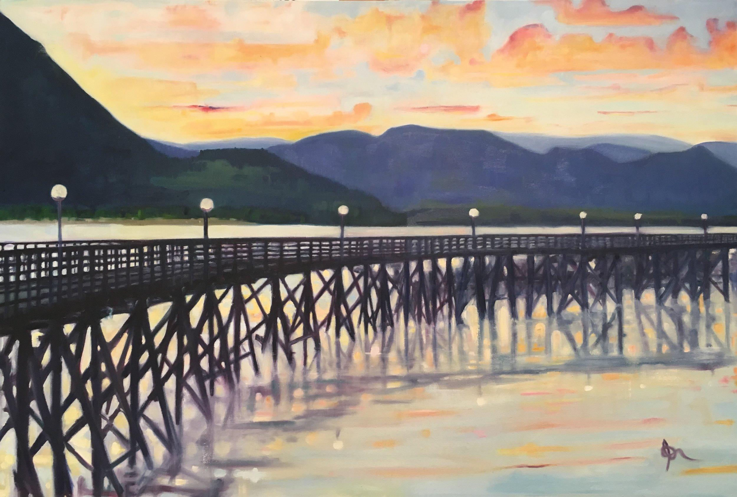 "Salmon Arm Wharf: 24"" x 38"", oil on canvas, SOLD"