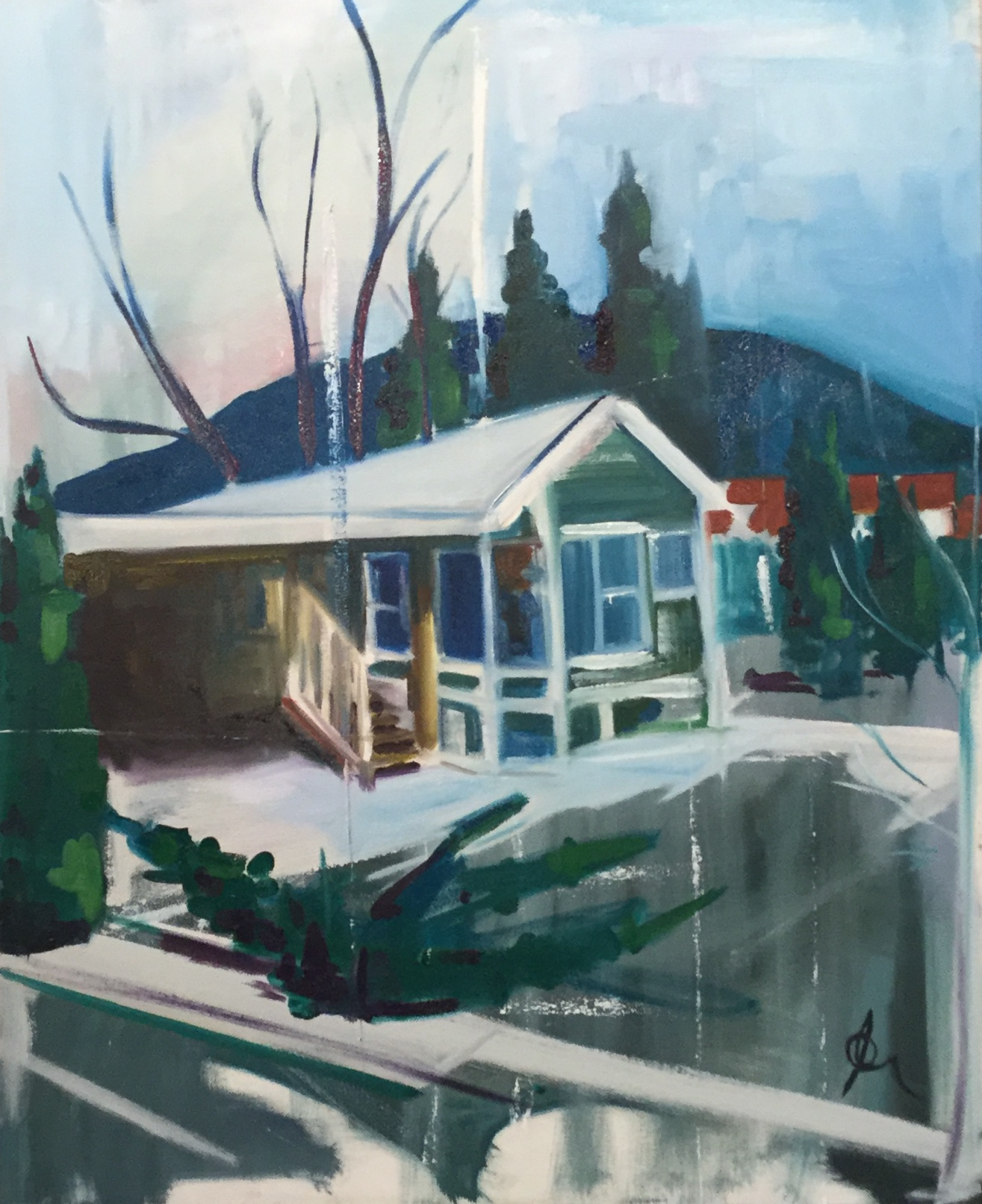 """Cabin Two: 16"""" x 20"""", oil on canvas, SOLD"""