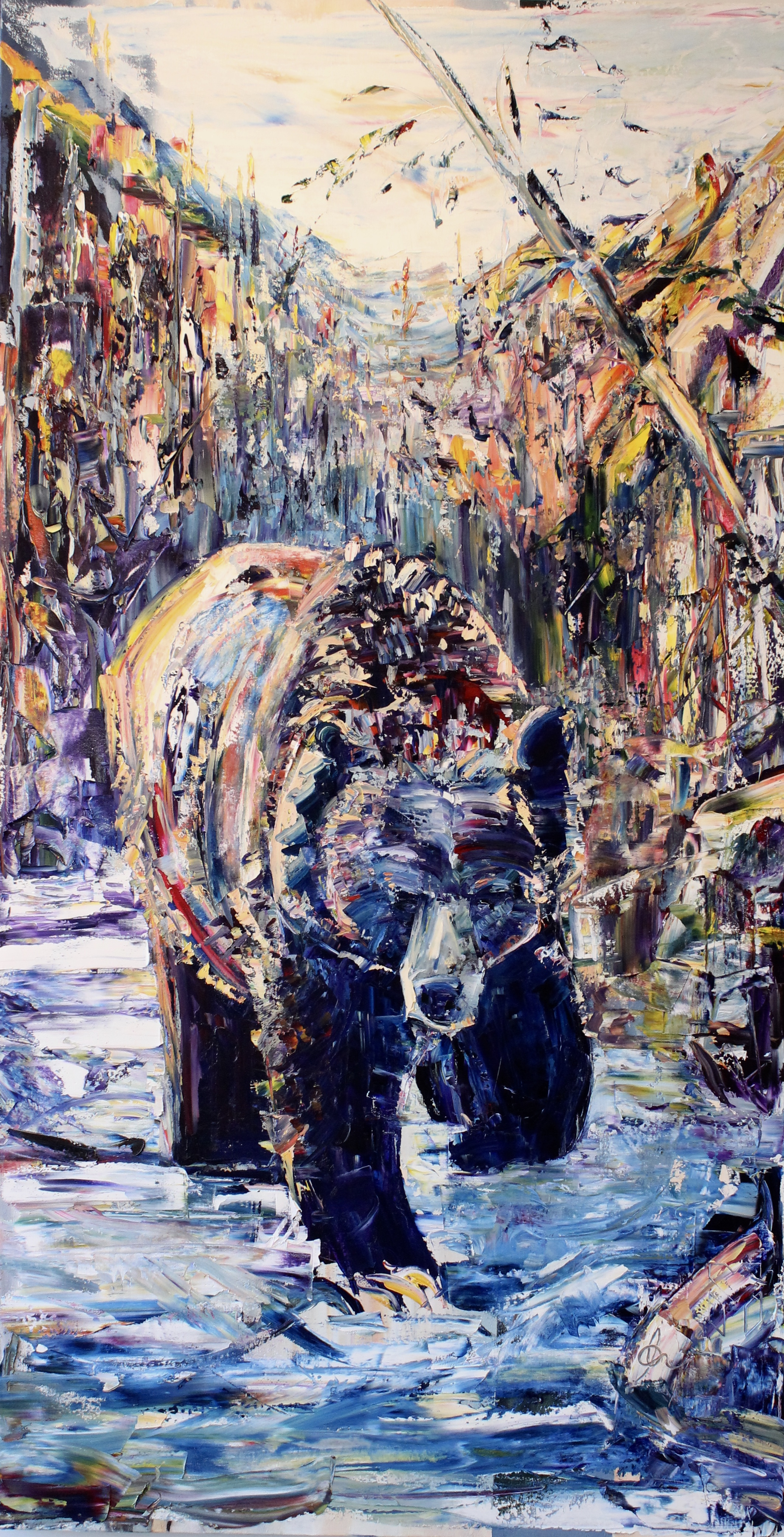 """Gone Fishing - 36"""" x 68""""Oil on canvas, Adam MeikleSOLD/PRIVATE COLLECTION"""
