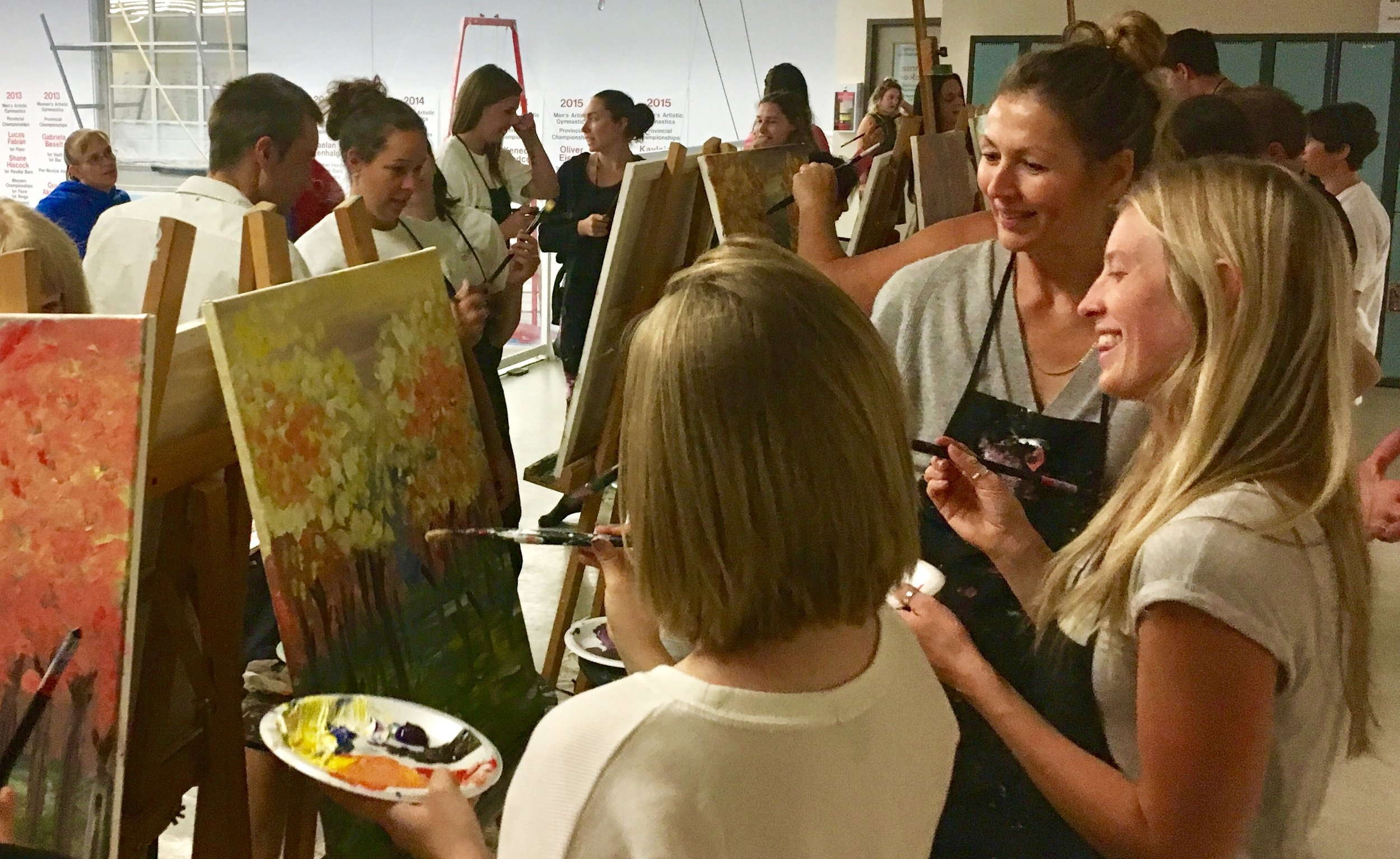CORPORATE TEAM BUILDING PAINT PARTIES - Whether it be a deeper sense of camaraderie or a time to relax as cohorts, there is always team building happening.