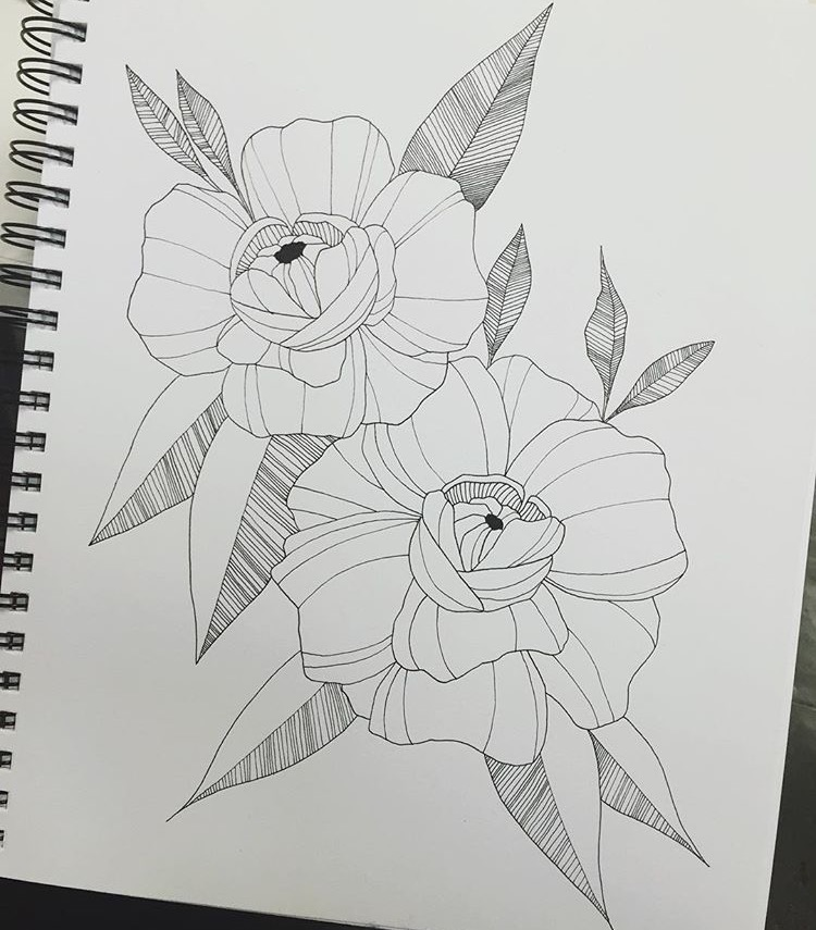 Thigh Flower tattoo design