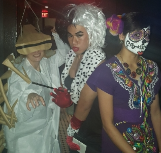 Winners of the costume contest:                1st Place - Christian Suharlim (middle)                 2nd Place - Goretty Oviedo (right)                 3rd Place - Elisa Ghelfi (left)