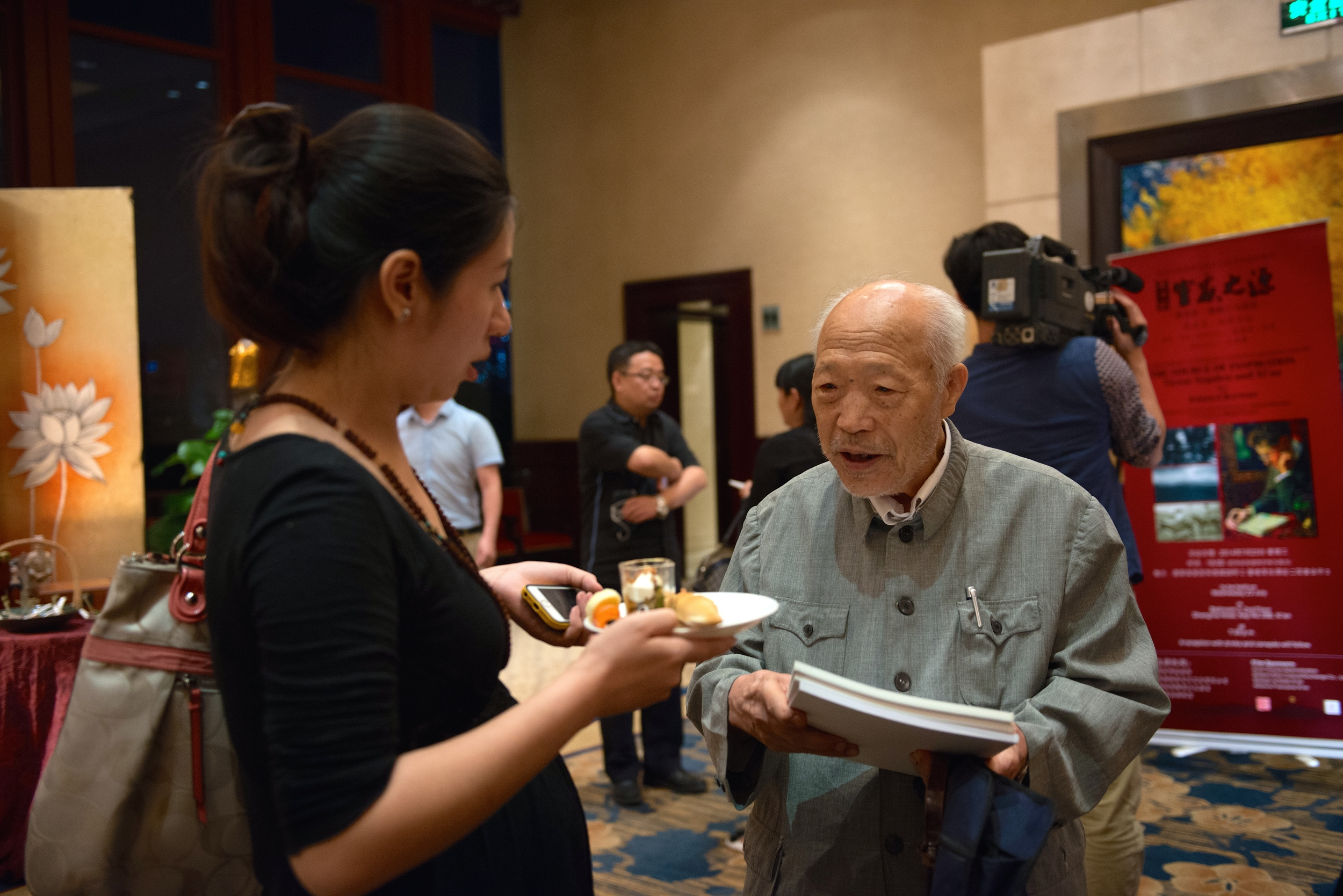 Professor Shih Xing Bang, past President, now Honorary President, of the Shaanxi Archeological Institute, at the reception following the first showing of THE SOURCE OF INSPIRATION. He was interviewed in the film.