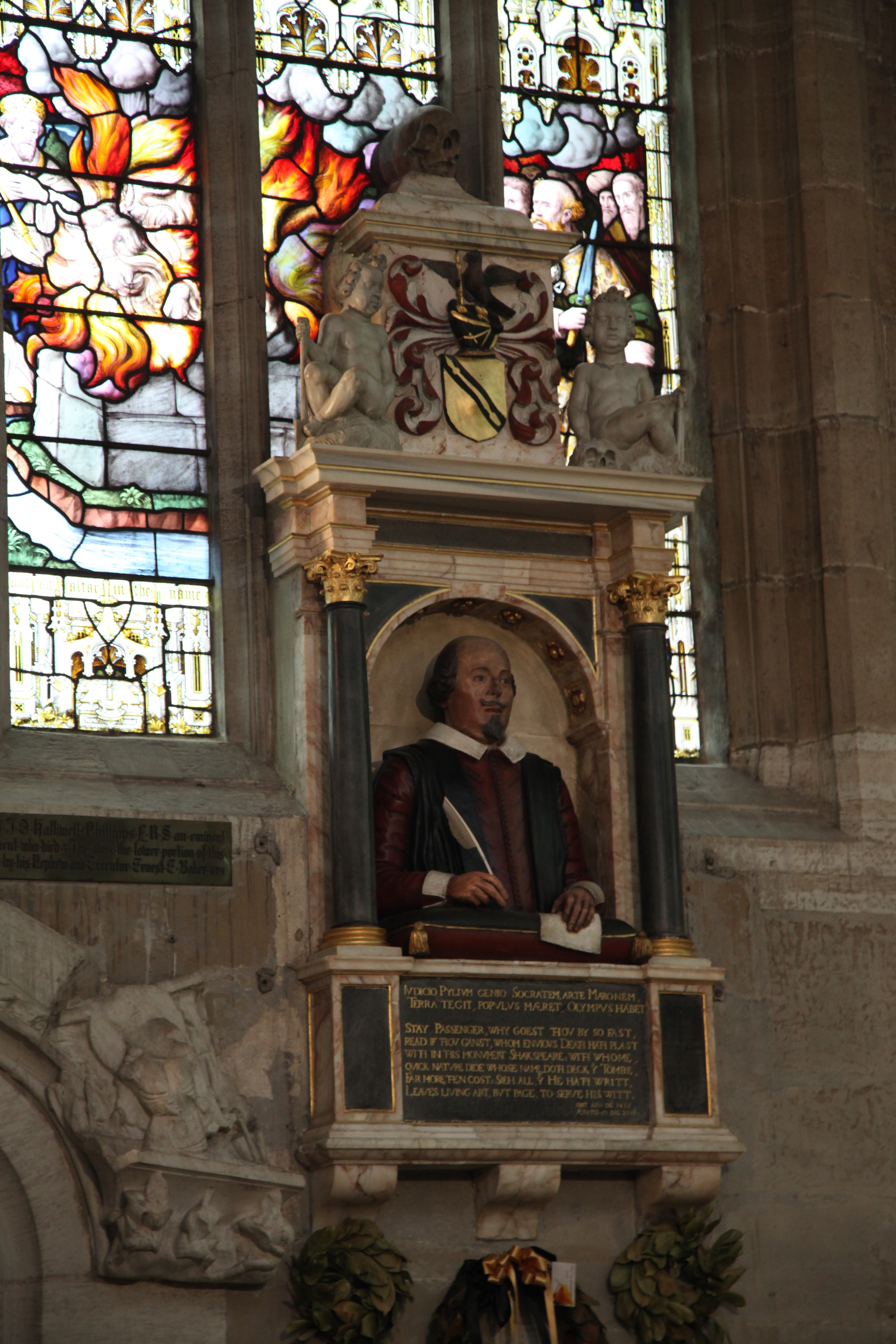 Shakespeare's tomb in Holy Trinity Church, Stratford-upon-Avon