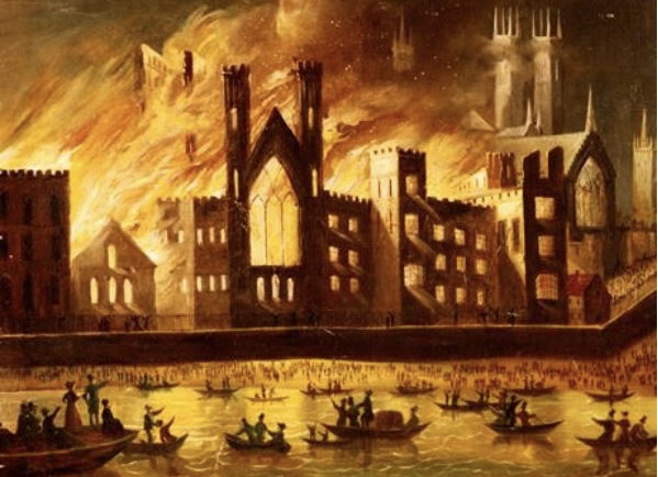 Westminster Hall on fire, 1854