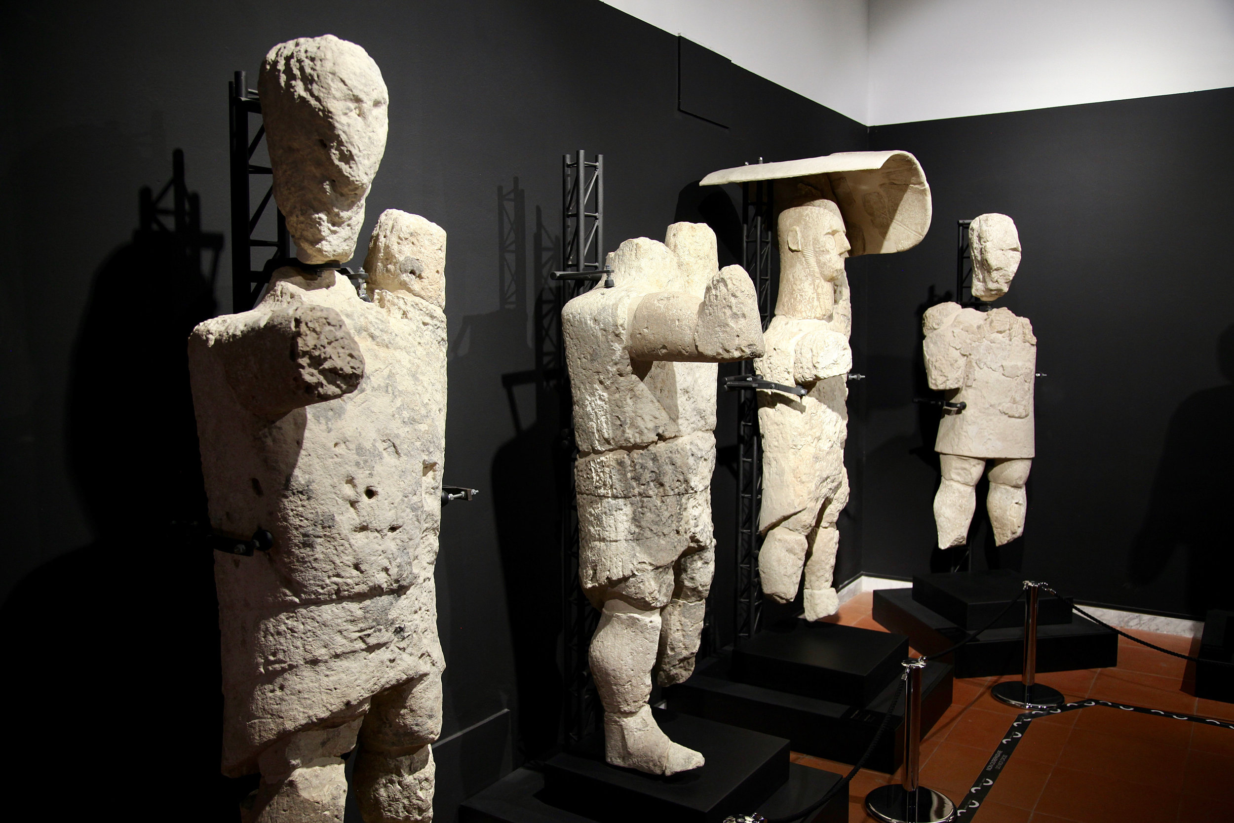 Four statues from Mont'e Prama in the Museum at Cabras, near Oristano