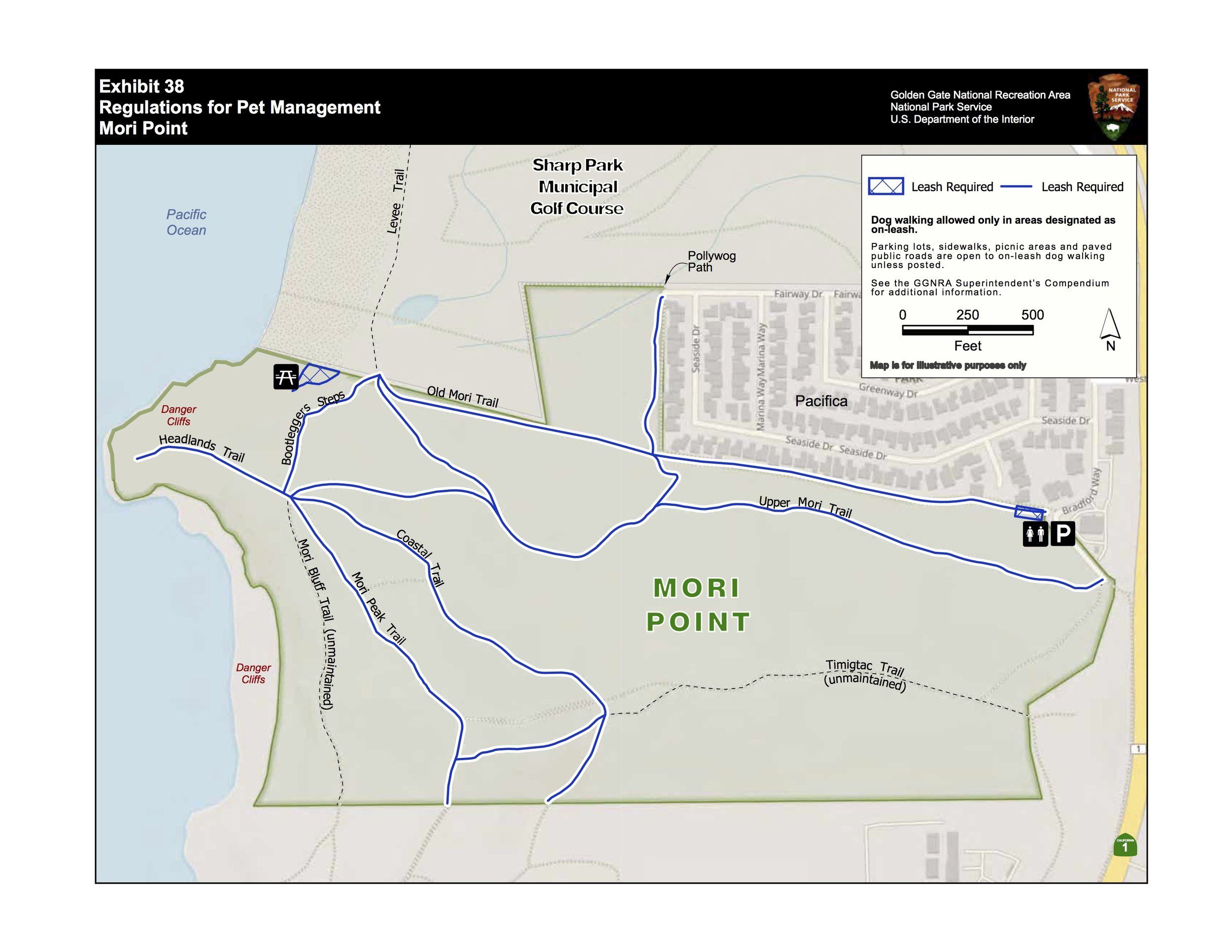 2019 compendium map eliminating dog walking on the mori bluff and timigtac trails   *note: hikers without dogs can still access these trails