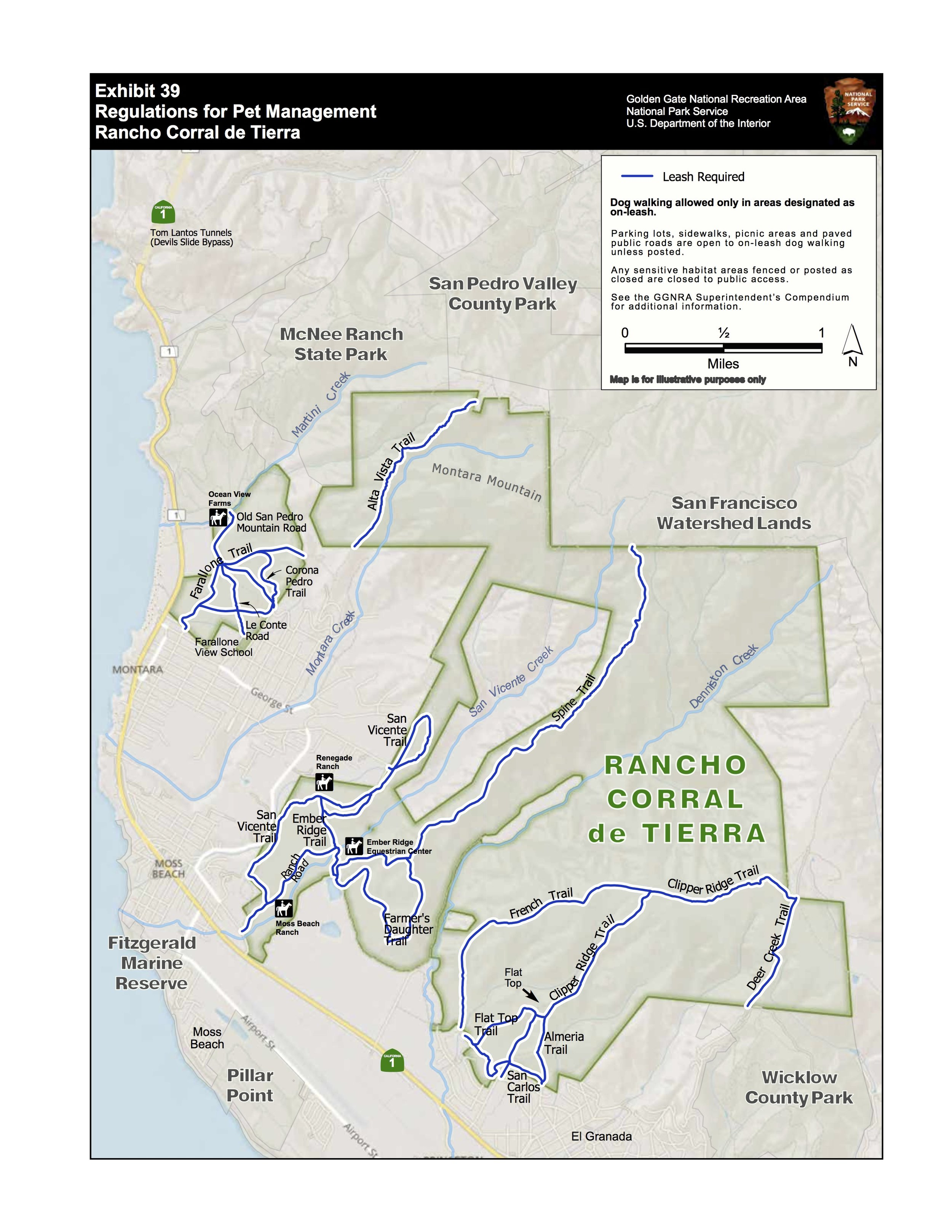 2019 COMPENDIUM MAP ELIMINATING DOG WALKING IN AREAS THROUGHOUT RANCHO INCLUDING TRAILS NOT LISTED ON GGNRA'S MAPS  *NOTE: HIKERS WITHOUT DOGS HAVE TO STAY ON TRAIL NEAR THE STABLES, BUT CAN CONTINUE TO ACCESS THE ENTIRE PARK.