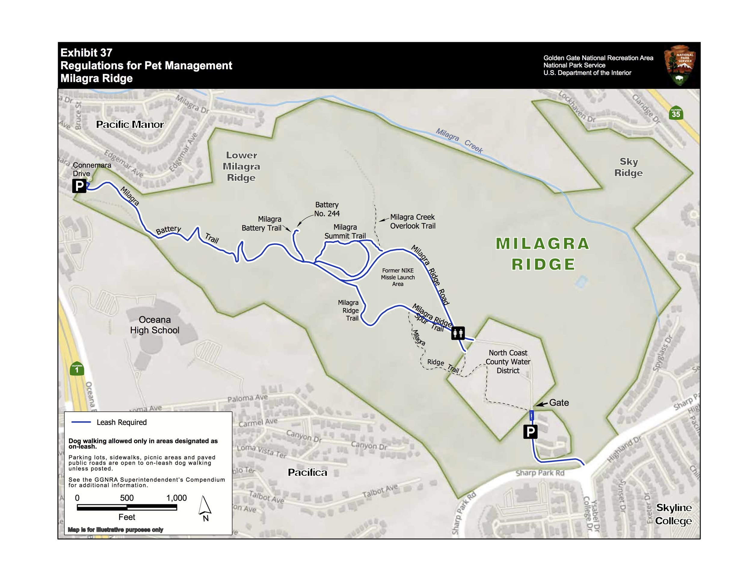 2019 Compendium map eliminating dog walking on the Milagra Creek Overlook Trail, part of the Milagra Ridge Trail, and part of Milagra Ridge Road. Dog owners would no longer be able to access Milagra Ridge from the park's southern entrance.