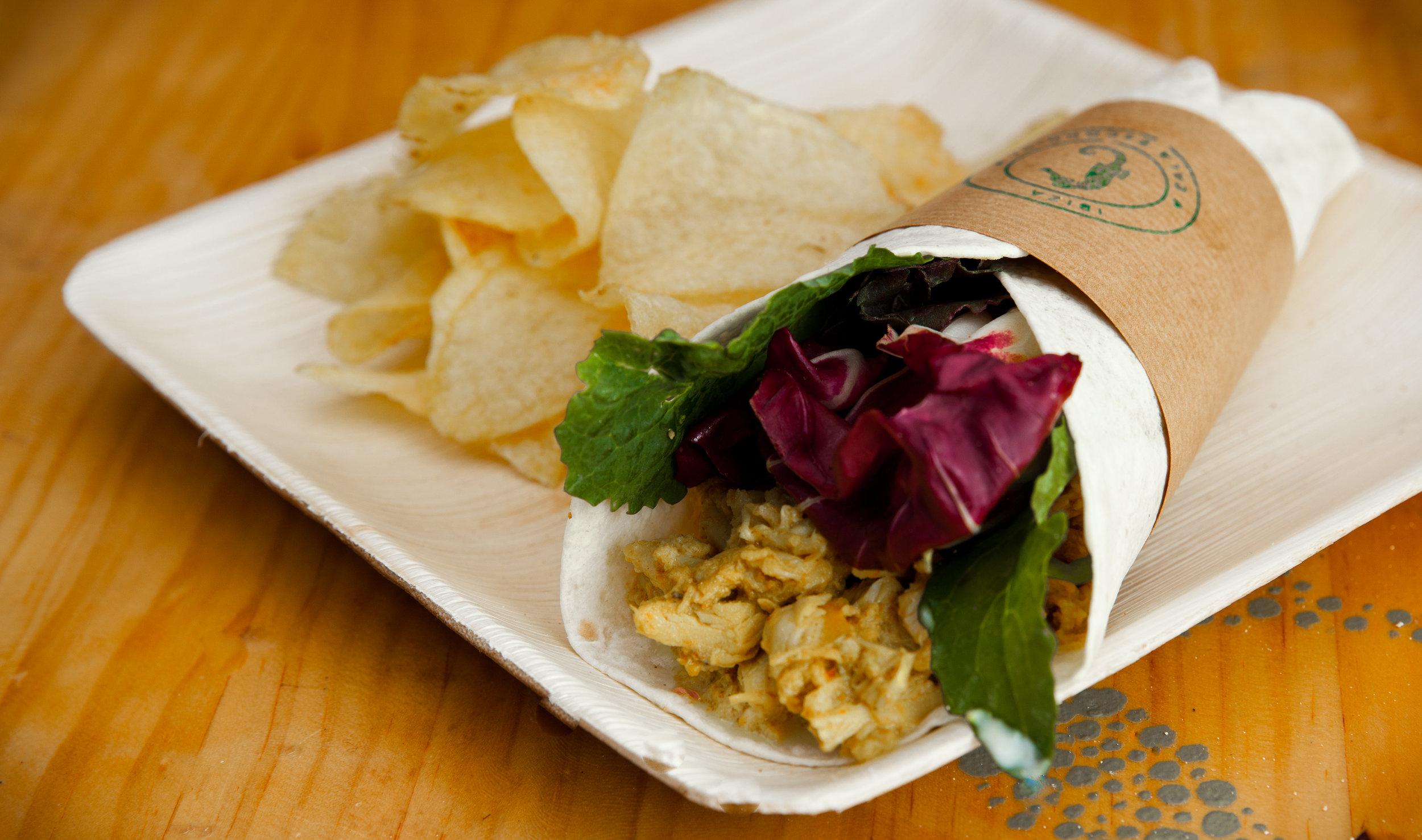 Wrap de polloal curry. -